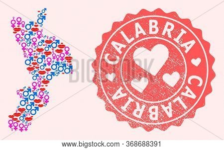 Vector Collage Of Sexy Smile Map Of Calabria Region And Red Grunge Stamp With Heart. Map Of Calabria