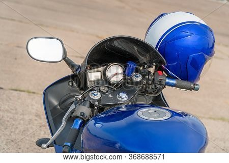 View Of The Fuel Tank And Steering Wheel Of A Motorcycle With Mirrors. Helm On The Steering Wheel