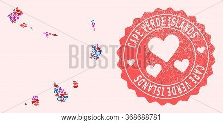 Vector Collage Of Love Smile Map Of Cape Verde Islands And Red Grunge Seal With Heart. Map Of Cape V