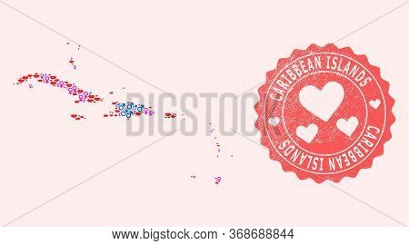 Vector Collage Of Love Smile Map Of Caribbean Islands And Red Grunge Seal With Heart. Map Of Caribbe