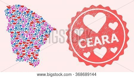 Vector Collage Of Love Smile Map Of Ceara State And Red Grunge Seal With Heart. Map Of Ceara State C