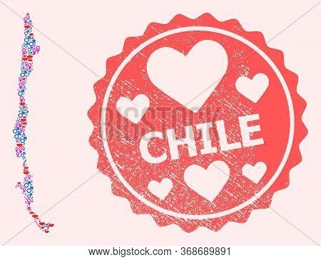 Vector Collage Of Love Smile Map Of Chile And Red Grunge Seal Stamp With Heart. Map Of Chile Collage