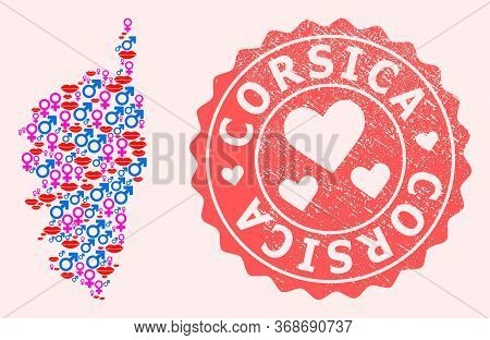 Vector Collage Of Love Smile Map Of Corsica And Red Grunge Stamp With Heart. Map Of Corsica Collage