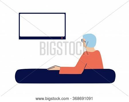 Elderly Man Watching Tv At Home. Senior, Old Man, Pensioner Sitting In A Sofa Alone, Watching News.