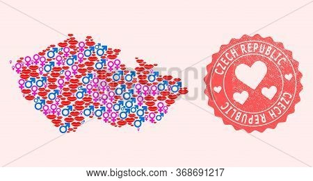 Vector Collage Of Love Smile Map Of Czech Republic And Red Grunge Seal With Heart. Map Of Czech Repu