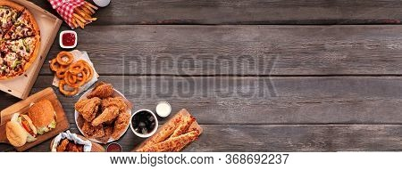 Selection Of Take Out And Fast Foods. Corner Border Banner. Pizza, Hamburgers, Fried Chicken And Sid