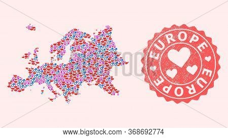 Vector Combination Of Sexy Smile Map Of Europe And Red Grunge Stamp With Heart. Map Of Europe Collag