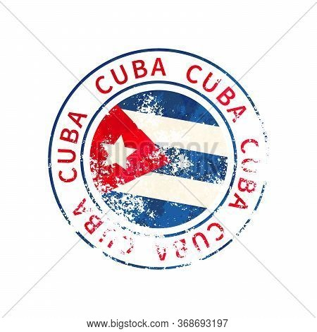 Cuba Sign, Vintage Grunge Imprint With Flag On White