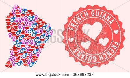 Vector Collage Of Love Smile Map Of French Guiana And Red Grunge Stamp With Heart. Map Of French Gui