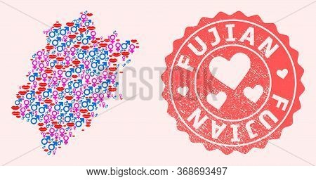Vector Composition Of Love Smile Map Of Fujian Province And Red Grunge Seal With Heart. Map Of Fujia
