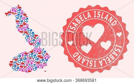 Vector Combination Of Sexy Smile Map Of Galapagos - Isabela Island And Red Grunge Stamp With Heart.