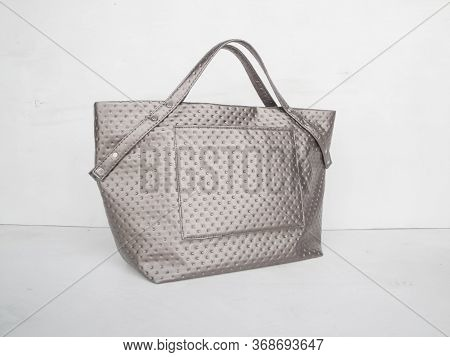 Gray Handmade Womens Shopper Bag, Patent Leather Bag Made Of Crocodile Eco Leather, Patent Leather A