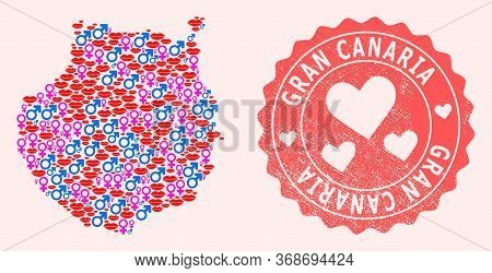 Vector Collage Of Sexy Smile Map Of Gran Canaria And Red Grunge Stamp With Heart. Map Of Gran Canari