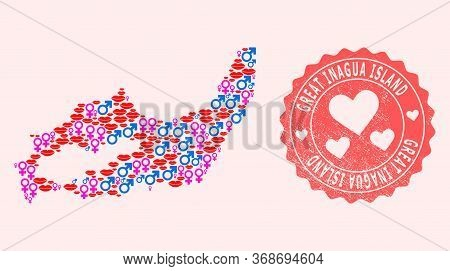 Vector Collage Of Love Smile Map Of Great Inagua Island And Red Grunge Seal With Heart. Map Of Great
