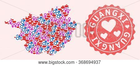 Vector Collage Of Love Smile Map Of Guangxi Province And Red Grunge Stamp With Heart. Map Of Guangxi
