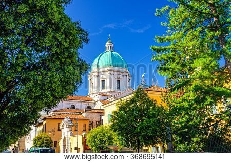 Santa Maria Assunta Roman Catholic Church Or New Cathedral Or Duomo Nuovo Building And Green Tree Br