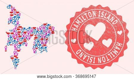 Vector Combination Of Love Smile Map Of Hamilton Island And Red Grunge Stamp With Heart. Map Of Hami