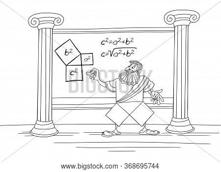 The Mathematician Pythagoras Writes And Proves The Theorem