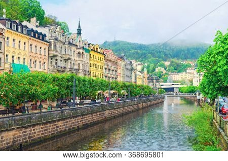 Karlovy Vary Carlsbad Historical City Centre With Tepla River Central Embankment, Colorful Beautiful