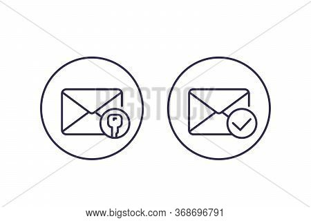 Encrypted Message Or Email, Vector Line Icons, Eps 10 File, Easy To Edit