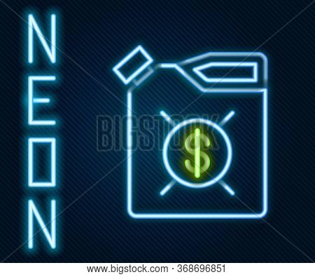 Glowing Neon Line Canister For Motor Machine Oil Icon Isolated On Black Background. Oil Gallon. Oil