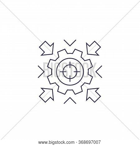 Integration Concept Vector Icon With Cogwheel, Linear Design, Eps 10 File, Easy To Edit