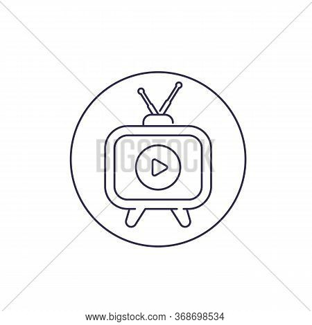 Tv With Antenna Icon, Linear Design, Eps 10 File, Easy To Edit