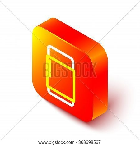 Isometric Line Eraser Or Rubber Icon Isolated On White Background. Orange Square Button. Vector. Ill