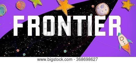 Frontier Theme With Space Background With A Rocket, Moon, Stars And Planets