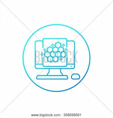 Nano Materials Research Vector Line Icon, Eps 10 File, Easy To Edit