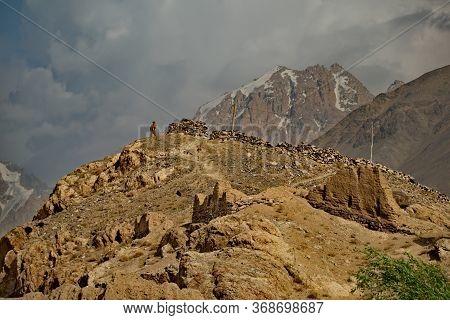 Namadgut. Tajikistan. August 09, 2019. Ancient Khaakha Fortress On The Coast Of The Panj River. An A