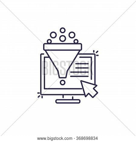 Conversion Rate Optimization, Sales Funnel, Digital Marketing Line Icon, Eps 10 File, Easy To Edit