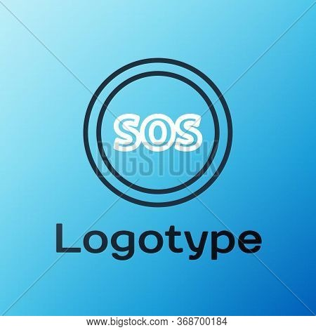 Line Location With Sos Icon Isolated On Blue Background. Sos Call Marker. Map Pointer Sign. Colorful