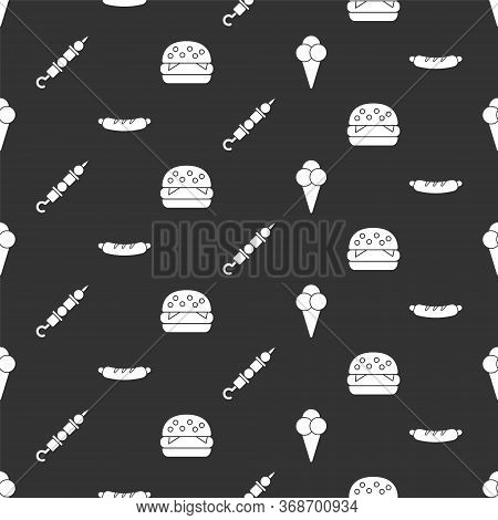 Set Ice Cream In Waffle Cone, Hotdog Sandwich, Grilled Shish Kebab And Burger On Seamless Pattern. V