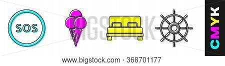 Set Location With Sos, Ice Cream In Waffle Cone, Big Bed And Ship Steering Wheel Icon. Vector.