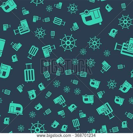 Set Ship Steering Wheel, Rv Camping Trailer, Suitcase And Suitcase On Seamless Pattern. Vector.