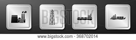 Set Oil Industrial Factory Building, Oil Rig With Fire, Oil Tanker Ship And Oil Tanker Ship Icon. Si