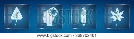 Set Leaf Or Leaves, Human Head With Leaf, Corn And Leaf Or Leaves. Square Glass Panels. Vector.