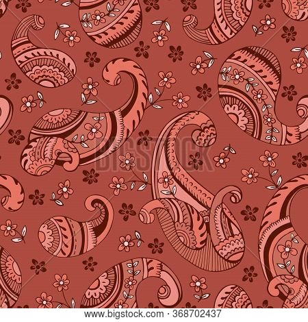 Colorful Seventies Retro Outline Hand Drawn Paisley Vector Seamless Pattern. Clay Tones Feminine Whi