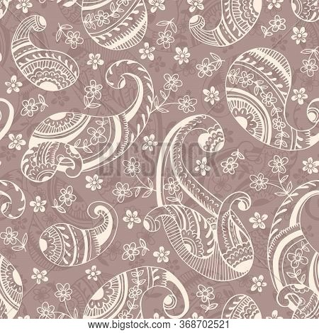 Seventies Retro Outline Hand Drawn Paisley Vector Seamless Pattern. Monochrome Cute Feminine Whimsic