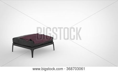 3d Render Of A Metallic Quadruped Sitting Stool With Leather Matttress And A Cloth On Top And Space