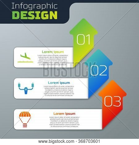 Set Plane Landing, Aircraft Steering Helm And Box Flying On Parachute. Business Infographic Template