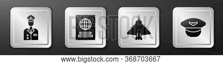 Set Pilot, Passport, Jet Fighter And Pilot Hat Icon. Silver Square Button. Vector.