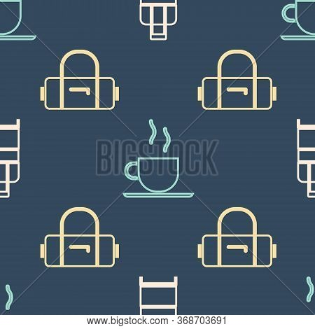Set Isometric Suitcase, Suitcase And Coffee Cup Icon. Vector.