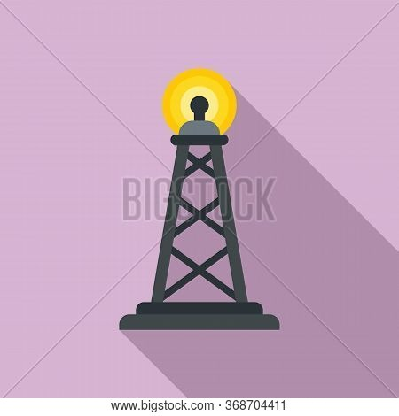 Gsm Radiation Tower Icon. Flat Illustration Of Gsm Radiation Tower Vector Icon For Web Design
