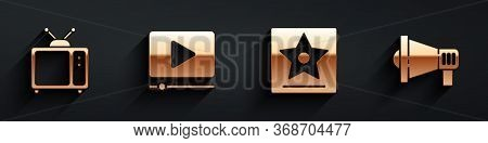 Set Retro Tv, Online Play Video, Hollywood Walk Of Fame Star And Megaphone Icon With Long Shadow. Ve