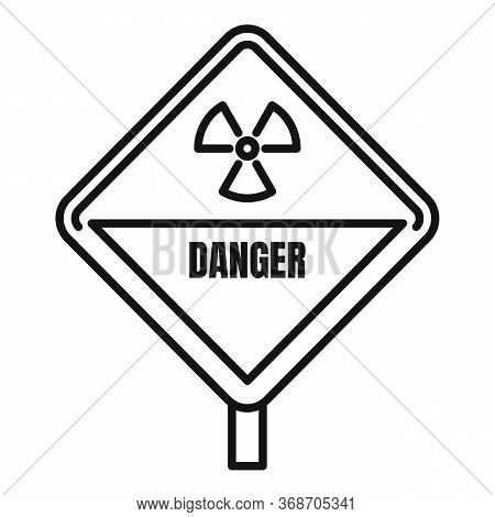 Danger Radiation Zone Icon. Outline Danger Radiation Zone Vector Icon For Web Design Isolated On Whi