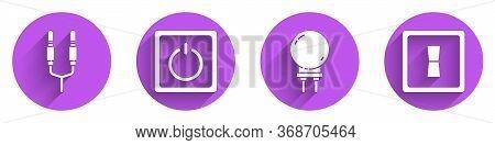 Set Audio Jack, Electric Light Switch, Light Emitting Diode And Electric Light Switch Icon With Long