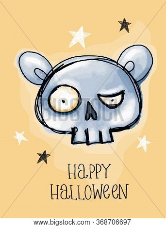 Happy Halloween. Funny Hand Drawn Halloween Vector Illusration With Angry Blue Skull On A Yellow Bac