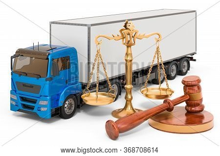 Truck With Wooden Gavel And Scales Of Justice. 3d Rendering Isolated On White Background
